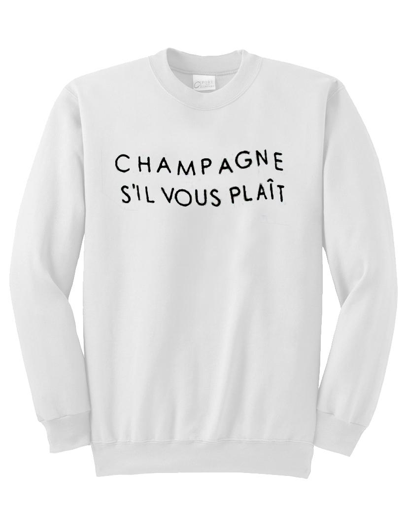 champagne sil vous plait sweatshirt advantees online shop. Black Bedroom Furniture Sets. Home Design Ideas