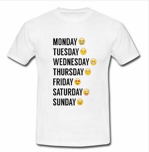 03a6ff8d Emoji Days Of The Week T shirt - Advantees Online Shop