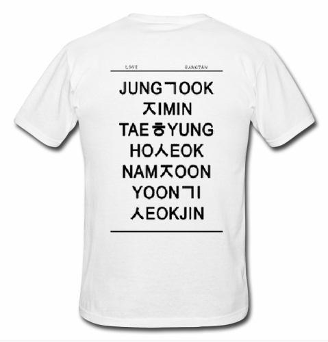 Bts Members Names In Hangul T Shirt Back
