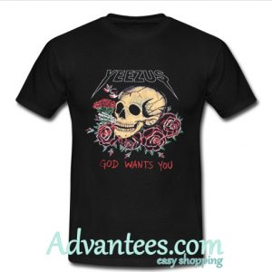 Yeezus Skull and roses t shirt